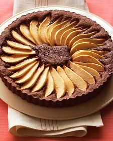 Chocolate Pear Tart ~ Sliced Bartlett pears are arranged decoratively in a chocolate-almond filling. The pears are brushed with apple jelly after baking to give them a glossy sheen. There& no need to make a crust for this easy Thanksgiving dessert. Chocolate Pies, Chocolate Recipes, Flourless Chocolate, Chocolate Ganache, Just Desserts, Dessert Recipes, Recipes Dinner, Dessert Ideas, Pear Tart