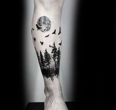 Manly Small Tree Leg Band Tattoo Designs For Guys #TattooIdeasForGuys