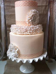 we ❤ this!  moncheribridals.com   #weddingcake #peachweddingcake