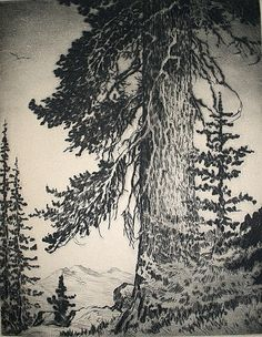 Lyman Byxbe(American, 1886-1980)  Off  The Trail   1949  etching