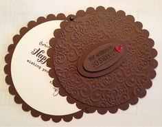 handmade card in the shape of a giant Oreo ... luv the details .... brad used to connect the two parts ... sentiment from Stampin' Up!
