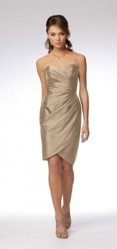 champagne bridesmaid dress -- this color is a probably a little dark (it should be a light gold color!)
