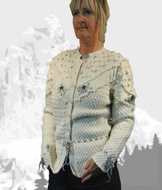 """Ladies cardigan with Austrian Inspiration """"Maligne Lake"""" cream with grey embroidery - the perfect companion for denim Cardigans For Women, Knits, Hand Knitting, Leather Skirt, Men Sweater, Ruffle Blouse, Feminine, Ship, Pure Products"""
