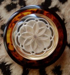 Antique Tortoise Shell & Celluloid Button.  Swoon!