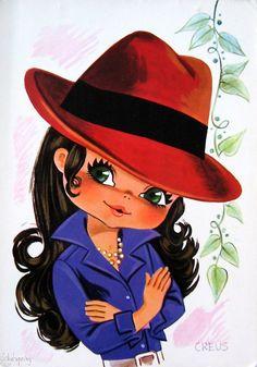 Creus - Sweet Big Eyed Girl, Vintage postcard from the Vintage Greeting Cards, Vintage Postcards, Vintage Images, Vintage 70s, Illustration Mignonne, Cute Illustration, Art Mignon, Eye Art, Big Eyes