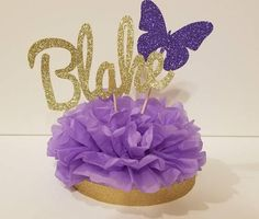 Lavender Purple and Gold Personalized Name Centerpiece Princess Butterfly Birthday Party Baby shower table decor Butterfly 1st Birthday, Butterfly Birthday Party, Butterfly Baby Shower, Purple Birthday, Princess Birthday Party Decorations, Princess Centerpieces, Birthday Party Centerpieces, Birthday Party Tables, Shower Centerpieces