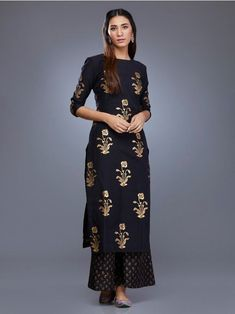 Black Mustard Yellow Chanderi Block Printed Suit - Set of 3 Printed Kurti Designs, Salwar Designs, Kurta Designs Women, Kurti Designs Party Wear, Blouse Designs, Pakistani Outfits, Indian Outfits, Indian Designer Outfits, Designer Dresses