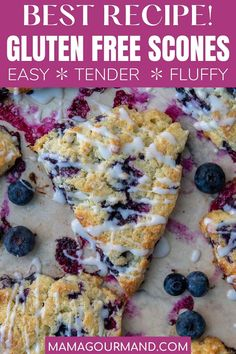 Looking for the Best Gluten Free Scones recipe? These easy blueberry scones drizzled with a sweet glaze, are so tender and fluffy, no one will know they are in fact gluten free!#glutenfree #scones #easy #best #blueberry #chocolatechip Brunch Recipes, Sweet Recipes, Dessert Recipes, Best Breakfast Recipes, Baking Recipes, Yummy Recipes, Gluten Free Scones, Gluten Free Baking, Blueberry Scones