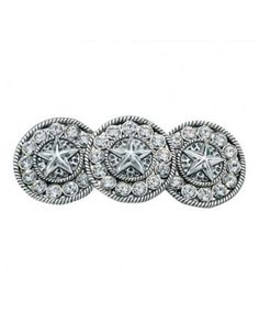 Three Hammered Silver Starlight Conchos Barrette