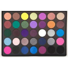 This eye shadow palette is perfect for colorful smoky eye looks with 35 highly-pigmented shades, both in matte and shimmer finishes. The colors of this eye shadow range from golden oranges to blues and aquas for great eye variety.