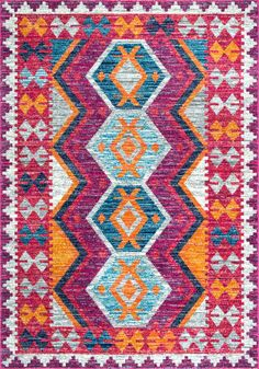 Bright jewel tones make the nuLOOM Mellie Tribal Area Rug a vibrant decorative accent for your modern or Southwestern home. The rug is crafted by machine. Geometric Rug, Tribal Rug, Rugs Usa, Cow Hide Rug, Carpet Runner, Rug Making, Home Design, Interior Design, Persian Rug