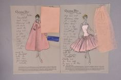 Christian Dior stationery, for pink Cuba dress and coat, with personal notes to client Brenda Schulman, both having swatch(es) attached