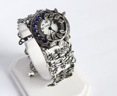 Blue wrist watch bracelet Gothic women's Victorian by Aranwen, €95.00