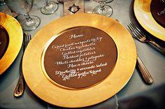 wedding menus on plates
