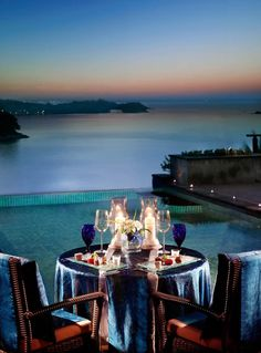 Romantic dinner on a private beach