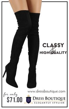 Black Over The Knee Stiletto Boots - It's easy to show off your body with the curve-hugging style of these super long boots. Click for more.