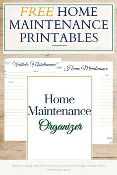 Use these free home maintenance printables to help manage your home- whether its keeping track of your car inspections or planning a home reno! Free Printable Worksheets, Printables, Plastic Binder, Paper Binder, Binder Dividers, Hole Puncher, Home Management Binder, Plastic Design, Home Organization Hacks