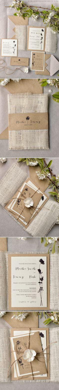 Handmade Wedding Invitations with burlap wrapping, twine & flower #weddingideas #summerwedding #ecofriendly