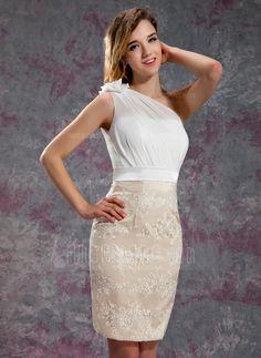 Wedding Guest Dresses - $144.99 - Sheath/Column One-Shoulder Knee-Length Chiffon Satin Lace Bridesmaid Dress With Ruffle Flower(s) (007019625) http://amormoda.com/Sheath-Column-One-shoulder-Knee-length-Chiffon-Satin-Lace-Bridesmaid-Dress-With-Ruffle-Flower-S-007019625-g19625