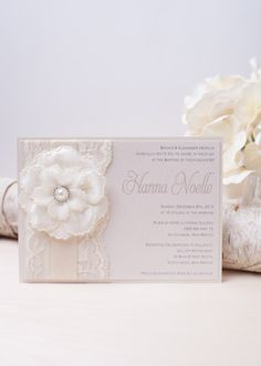 HANNA: Ivory Pearl Lace Baptism Invitation ~ Unique Flower Invitation ~ White Baby Shower Invitation ~ Cream Invitation by peachykeenevents on Etsy https://www.etsy.com/listing/126283916/hanna-ivory-pearl-lace-baptism