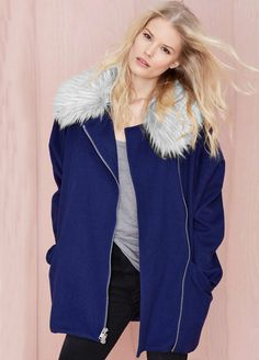 Blue Long Sleeve Faux Fur Lapel Zip Coat
