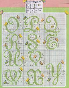 Bordado Passo a Passo: Monograma com borboletas Josi, Blackwork, New Pins, Letters And Numbers, Plastic Canvas, Alphabet, Bee, Cross Stitch, Bullet Journal