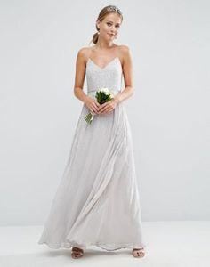 ASOS WEDDING – Verziertes Maxikleid mit dünnen Trägern