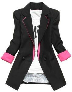 Black Blazer with a touch of Pink - this would be super cute with jeans and a tee or tank top.