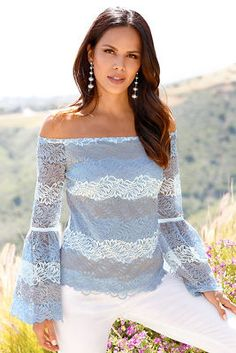 You are beautiful in this shades of blue feminine lace top with a sexy off-the-shoulder neckline, bell sleeves with ribbon detail and scalloped eyelash hem and cuffs. Fully li