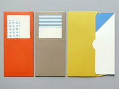 Geometric card set with envelope window and fold out cards. From Present and Correct.
