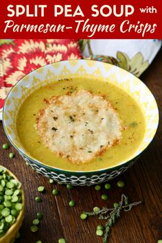 Split Pea Soup with Parmesan-Thyme Crisps makes a fab part of any meal! This soup is vegetarian and gluten free, too!
