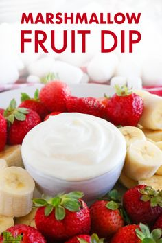 Marshmallow Fruit Dip with cream cheese is perfect for parties! Creamy, light and fluffy, consisting of only 3 ingredients and takes 3 minutes to make! Fruit Recipes, Appetizer Recipes, Sweet Recipes, Dessert Recipes, Dip Recipes, Appetizers, Marshmallow Fluff Fruit Dip, Cheesecake Fruit Dips, Easy Fruit Dip