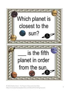 Planets of the Solar System: Here is a set of 50 planets of the solar system task cards for your students to discover information about our planets.