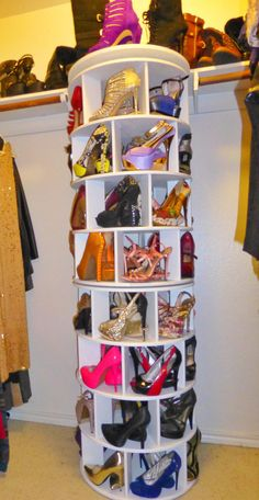 Spinning Shoe Rack Closet Modification. Full Sized Rack, From The Floor To  The Top Shelf. Both Four Tier Racks Spin Individually.