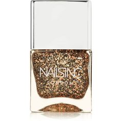 Nails inc Nail Polish - Belgrave Square (€18) ❤ liked on Polyvore featuring beauty products, nail care, nail polish, nails, makeup, beauty, esmalte, gold, nails inc. and nails inc nail polish