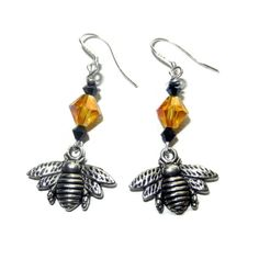 Silver Bumble Bee Dangle Earrings with Golden by CloudNineDesignz