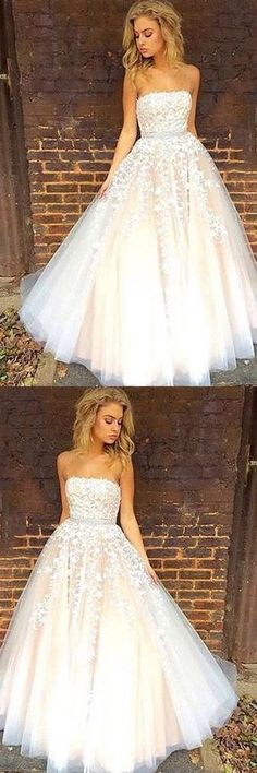 Gorgeous Strapless Sleeveless White Tulle Ball Gown Long Prom Dress ,Wedding Dresses M1127#prom #promdress #promdresses #longpromdress #promgowns #promgown #2018style #newfashion #newstyles #2018newprom#eveninggown#strapless#sleeveless#white#tulle#ballgown#weddingdress