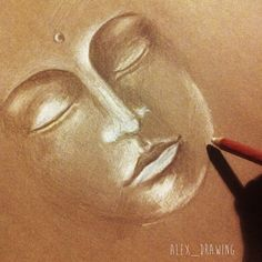 Work In Progress Buddha Drawing Brown Paper China White Pencil by Alexandra Frances. Instagram @alex_drawing