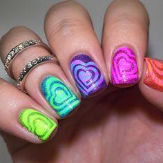 Cute Nail Art Designs, Girls Nail Designs, Acrylic Nail Designs, Neon Nail Art, Neon Nails, Nails For Kids, Girls Nails, Kids Manicure, Kid Nails