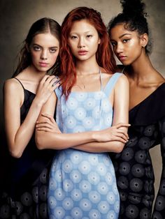 """""""Mariana Zaragoza, Hoyeon Jung and Aiden Curtiss photographed by Victor Demarchelier for Vogue Japan (March """" Irina Shayak, Cameron Russell, Patrick Demarchelier, Steven Meisel, Vogue Editorial, Editorial Fashion, Beautiful Girl In India, Jonathan Saunders, Vogue Spain"""