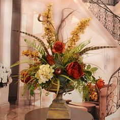 Deep Red and Gold Large Silk Flower Arrangement with Feathers Floral Home Decor http://www.amazon.com/dp/B010HA15II/ref=cm_sw_r_pi_dp_neU.wb0V7PQ46