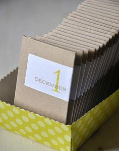 DIY advent calendar made with cardboard envelopes. Avery Wraparound Labels (22838) would be perfect for this. You can personalize them with free holiday printables from Avery Design & Print Online. Just personalize, print and apply.
