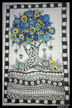 Yellow and blue doodle tree