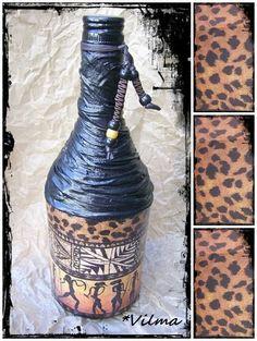 . Decoupage, Arts And Crafts, Vase, Bottle, Home Decor, Bottles, Decoration Home, Room Decor, Flask