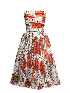 Carnation and polka-dot print strapless dress   Dolce & Gabban...