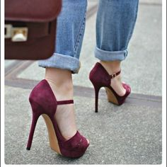 Stuart Weitzman berry colored heels. Size 7. Berry colored suede uppers. Open toe. Retail $300+ purchased at Nordstroms. 1st&3rd photo for styling ideas. 3rd photo from bebeautifulinGodseyes.blogspot.com Stuart Weitzman Shoes Heels