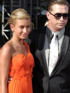 Hailey Baldwin, left, and father Stephen Baldwin back in 2010. Picture: AP