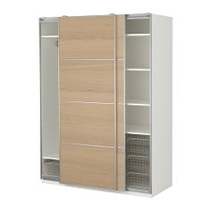 PAX Wardrobe with interior fittings, white, Ilseng white stained oak veneer £412