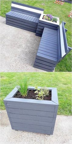 Check out the adorable picture description of the DIY pallet furniture idea. This awesome wood pallet reusing idea will deliver you something excellent and more effective than your imgaination. Just start designing this outdoor pallet couch and plant Garden Furniture Design, Pallet Garden Furniture, Diy Pallet Furniture, Diy Furniture Projects, Diy Pallet Projects, Wooden Furniture, Antique Furniture, Furniture Stores, Woodworking Projects