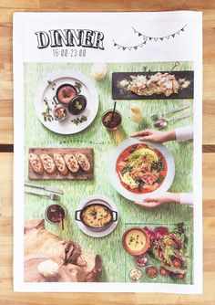 フリーペーパーのデザイン23種 新聞紙風・カラフル   Design Peeji   様々なことをデザインと結びつけて考えます。 Menu Design, Food Design, Blue Menu, Food Typography, Cafe Bistro, Free Paper, Editorial Design, Paper Design, Layout